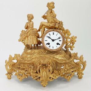 Napoleon III Kaminuhr Régule feuervergoldet Pendule clock Figur antik Empire