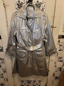 Nwt M Shiny Silver pvc Raincoat patent Trench Coat vinyl rain jacket G. Simonton