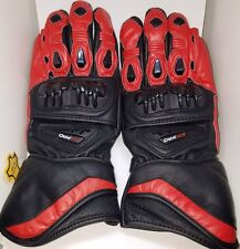 Red and Black Genuine Armored Leather Motorcycle Riding Gloves  (S)