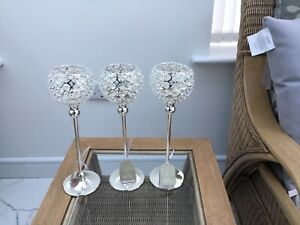 3 Tall Crystal Candle Holders