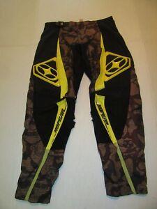 Vintage No Fear Motocross Dirt Bike Riding Pants Men Size 34 Black Yellow