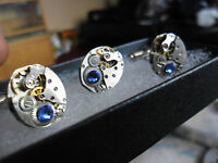 vintage oval steampunk lapel / tie  cravate stud pin and cufflinks set sapphire