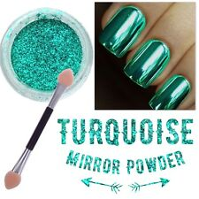 New! TURQUOISE NAIL MIRROR POWDER LIGHT GREEN Chrome Nails Shining Pigment (y8)