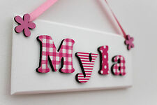 Girls wooden bedroom door sign plaque Pink White Christening gift New Baby