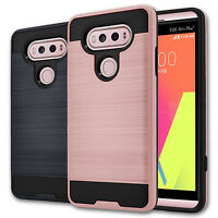 For LG V20 Case Brushed Texture Hard TPU Hybrid Armor Protective Phone Cover