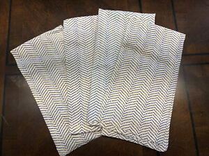 Set Of 4 Pier One Navy & Natural Chevron 100% Cotton Napkins 20x20 NWOT