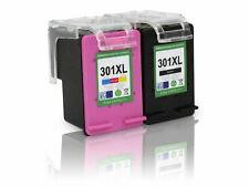 Kit 2 Cartucce Per HP 301 XL Compatibili Rigenerate Nero Colore