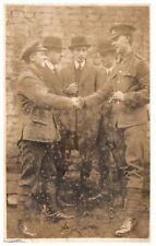 Postcard WW1 Unknown Regiment Soldier Being Greeted by Officer  RPPC 14a