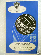1964 League Cup Semi FINAL LEICESTER CITY v WEST HAM UNITED, 5th Feb (Org*, Exc)