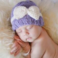 Newborn Baby Girl Boy Infant Toddler Bow Knit Crochet Hat Winter Warm Beanie UK