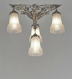 PETITOT & MULLER : FRENCH 1930 ART DECO FLUSH MOUNT .. chandelier  lamp pendant