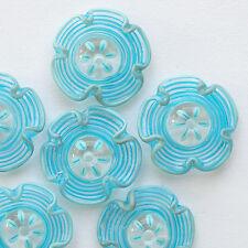RachelArt Turquoise Flowers Glass Beads Lampwork Handmade Spiral Artisan