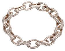 "Mens 14k Rose Gold Genuine Diamond 11mm Interlocking Link Bracelet 14 7/10 Ct 8"""
