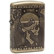 Zippo 29268 Steampunk Skull Multi Cut Armor Antique Brass Finish Lighter