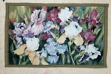RARE woven tapestry spring irises in bloom flowers floral jacquard wall hanging