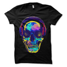 psychedelic neon dj headphone skull party mens t-shirt tee