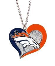 "Denver Broncos Football Team Logo NFL Heart Swirl Charm Silver 20"" Necklace"
