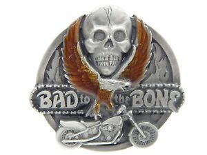 Bad To The Bone Skull Motorcycle Eagle Men's Belt Buckle Metal Siskiyou 1992 USA
