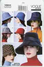 """V8844 Vogue OOP Sewing Pattern 4 Lined Hats Size XSM-LG 20.5-23.5"""" Patron"""