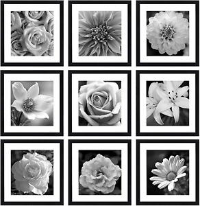 eletecpro 12x12 Picture Frames Black Set of 9, Wooden Square Photo Frame 8x8 Mat
