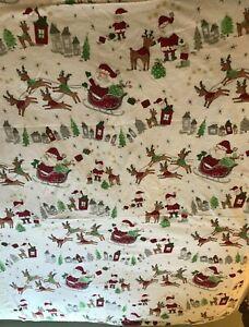 "Pottery Barn Kids Christmas Flannel  Sheet, Toddler,  45"" X 65""  Santa & Sleigh"