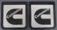 2x CUMMINS WHITE/BLACK UTE MUDFLAPS 10X10.25 INCH; MUD FLAP; MUDFLAP; 4x4; 4WD