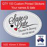 100 x Personalised Wedding Bomboniere Envelope  Sticker Seals Labels