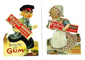 "2 X ""COCA COLA GUM PEPSIN"" Decal / VINYL STICKER SODA COKE VINTAGE RETRO Pepsi"