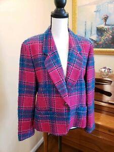 Pendleton wool pink green Tartan Plaid Blazer Jacket 12 Petite