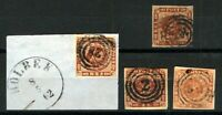 Denmark 1858 4sk brown imperf with wavy line background, all 4 margin exa Stamps