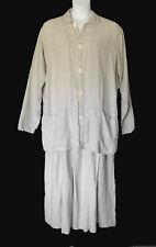 Flax Angelheart Vintage Striped Linen Maxi Dress & Oversized Jacket Set L-XL