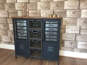 INDUSTRIAL STYLE METAL CABINET STORAGE CUPBOARD CHEST OF DRAWERS H88cm x W93cm