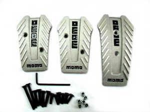 Momo Style Silver Aluminum Non Slip Gas Brake Pedal Pad Cover Manual Car 3 PCS