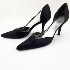 3c917cb0a Stuart Weitzman Black Silk Rhinestone Strap Stiletto Size US8 Womens Heels  Prom