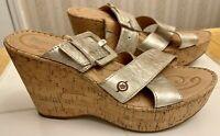 BORN Metallic Silver Cork Wedge Sandals US 10 M Excellent Condition