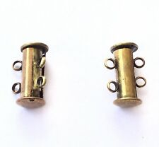 2-Strand Clasp Spring Slide Lock Antique Brass Jewelry Supplies