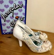 IRREGULAR CHOICE GLENDA LADIES HEELED SHOES CREAM GOLD LACE HIGH HEELS SHOES 9