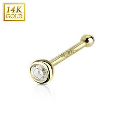 Bezel Set CZ 14K Yellow Gold Nose Ring Bone Stud Piercing 20G