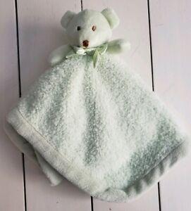 Blankets & Beyond Green Teddy Bear Baby Blanket Satin Silky Back Bow Lovey Plush