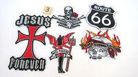 Route Rt 66 Biker Patches Lot 5 As Is Skull Rose Jesus Cross Devil Bikers Riding