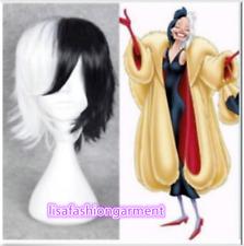 101 Dalmatians Cruella De vil Short Straight Black and White Hair Cosplay Wig