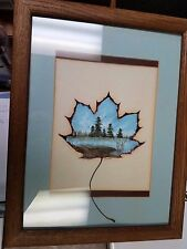 """Hand-painted Maple Leaf by Judith Framed and Matted 14"""" x 18"""""""