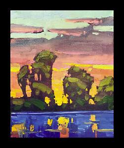 Wm HAWKINS  Impasto Sunset River Clouds Landscape Impressionism Oil Painting Art