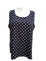 Plus Size Camisole Top Vest Navy & White Spotted Miss Chloe Sizes 18/20 to 34/36