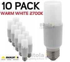 NEW 10 x MERCATOR 10W LED TUBULAR GLOBE E27 SCREW IN- WARM WHITE 2700K PACK LAMP