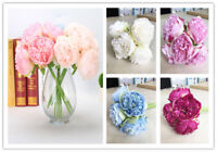 5 Heads Silk Flower Artificial Bouquet Peony Fake Leaf Home Wedding Party Decor