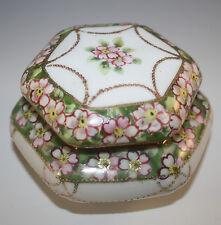 ANTIQUE NIPPON CHERRY BLOSSOM HEXAGON POWDER JAR, PUFF BOX