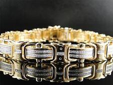 Mens Yellow Gold Finish and Genuine Pave Set Diamond Bracelet 8.75 Inch 12 MM