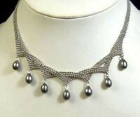 Charming Natural Akoya 8-9mm Black Cultured Pearl Pendant Necklace 18'' AAA