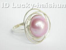 AAA natural pink South Sea Mabe Pearls Ring j4279